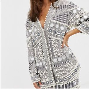 Asos Pearl and Mirrored Oversized Jacket - New